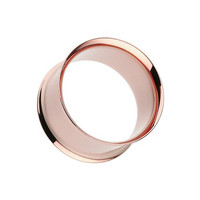 0G pair of Rose Gold Plated Ear Gauge Tunnel Plug