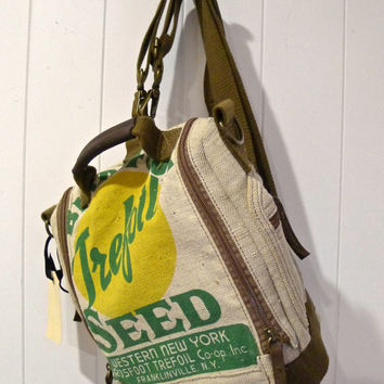 Birdsfoot Tresfoil - Franklinville New York -  Seed Sack Convertible Backpack Shoulder Bag - Canvas & Leather Bag... Selina Vaughan