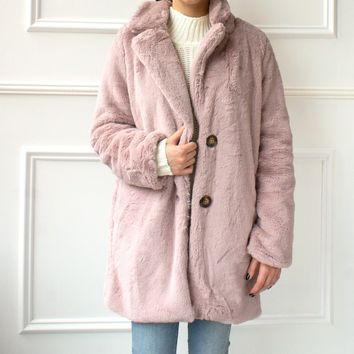Mara Faux Fur Coat - lilac