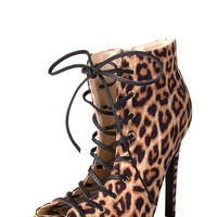 Leopard Print Lace Up Stilettos - Camel /