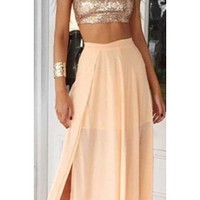 Have A Ball Gold Peach Sequin Sleeveless Mock Neck Crop Halter Thigh Slit Two Piece Maxi Dress
