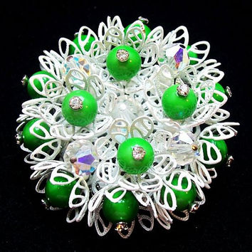 """Vendome Brooch Pin Signed Green & Crystal Beads White Enamel Layered  2 1/4"""" Vintage"""