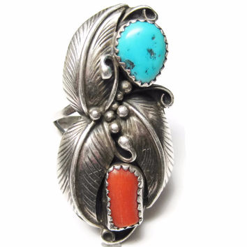 Turquoise Coral Ring Allen Chee Vintage Navajo Sterling Size 9