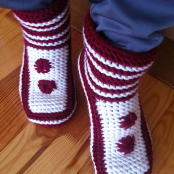 Red and White Knitted Slippers-Women's Slippers-Christmas Gift-Knit Slipper Booties-Knitted Slippers-Slippers