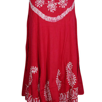 Bright Red Batik Paisley Embroidered Tank Dress Sleeveless Flare Beach Cover Up Dress L