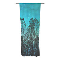 "Sylvia Cook ""Dark Forest"" Blue Trees Decorative Sheer Curtain"