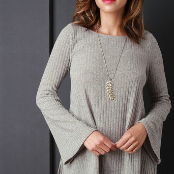 Rib Knit Bell Sleeves Top