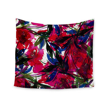"Ebi Emporium ""Floral Fiesta - Red"" Blue Maroon Wall Tapestry"