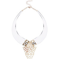 Gold Perspex Filigree Triangle Choker