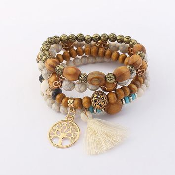 Hollow tree bangle retro wood beads multi-layer stretch bracelet