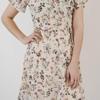 Floral Wrap Dress - Cream