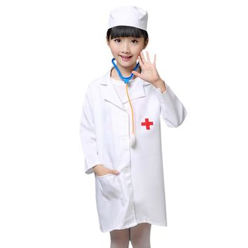 Children Halloween Cosplay Costume Kids Doctor Costume Nurse Uniform Girls Boys Game Clothing Wear Clothing for Party with Hat