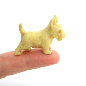 Dog Figure. Vintage Scottie Figurine. Ivory Celluloid Scotty Dog. Miniature Animal Figure. Mini Scottish Terrier Dog. 1920s Collectible.