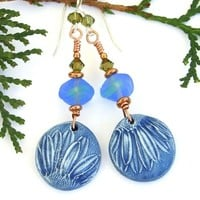 Blue Daisy Flower Handmade Earrings, Polymer Clay, Swarovski, Artisan Jewelry