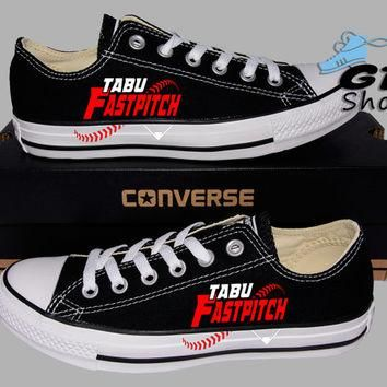 Hand Painted Converse Lo. TABU Girls Fastpitch Softball. Handpainted shoes.