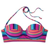 Xhilaration® Junior's Midkini Swim Top -Stripe Print