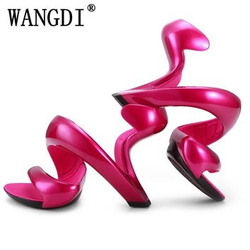 EdBeauty Women Sandals Summer New Fashion Bottomless Snake High Heels Platform Sandals Shoes Woman Wedding Shoes Women Pumps
