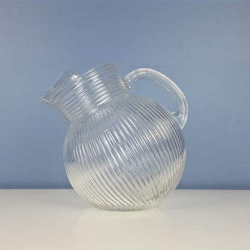 Vintage Tilt Ball Pitcher Clear Glass Textured Stripe Design with Ice Lip, Vintage Drinkware, Vintage Pitcher, Retro Kitchen