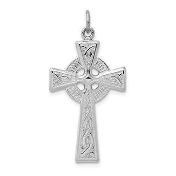 925 Sterling Silver Rhodium Plated Celtic Cross Shaped Pendant