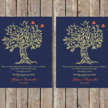 Wedding Gift Parents, Roots and Wings Poem, Hodding Carter Jr., Thank You Wedding Gift for Our Parents, Parents Gift, Tree with Love Birds