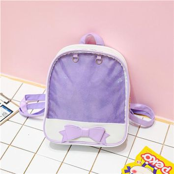 Student Backpack Children Miyahouse Middle School  Korean Style Bow Design Girl Transparent Backpack Fresh Color Teenagers Small Rucksack AT_49_3