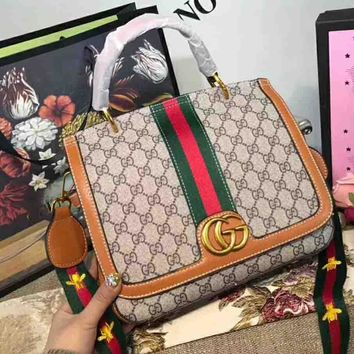 GUCCI Bag Women Shopping Shoulder Bag Contrast Stripe B-AGG-CZDL Orange Edge