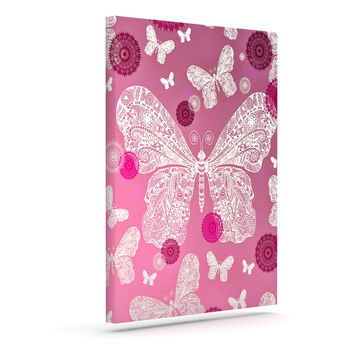 "Monika Strigel ""Butterfly Dreams Pink Ombre"" Magenta Canvas Art"