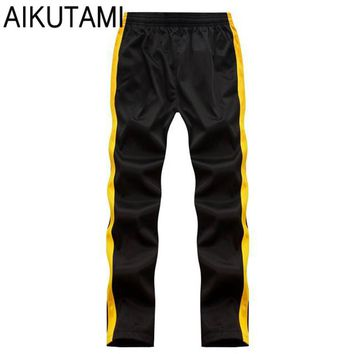 Hot Men Sport Running Pants Men Solid Stripe Loose Basketball Soccer Training Track Joggers Running Hombre Pantalon Plus Size