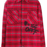 Graffiti Red Checkered Button-Up Shirt by OFF-WHITE