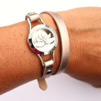 Lotus Double Wrap Leather Essential Oil Diffuser Bracelet Jewelry