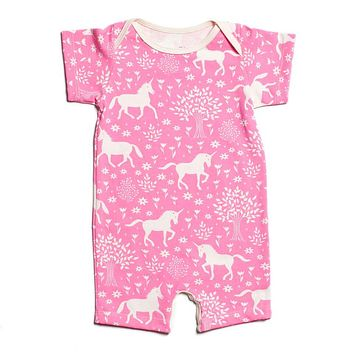 Pink Unicorn Organic Romper by Winter Water Factory