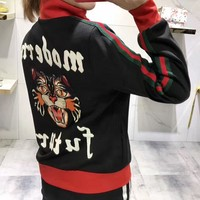 """Gucci"" Women Fashion Personality Letter Multicolor Stripe Angel Cat Embroidery Long Sleeve Zip Cardigan Jacket Coat"