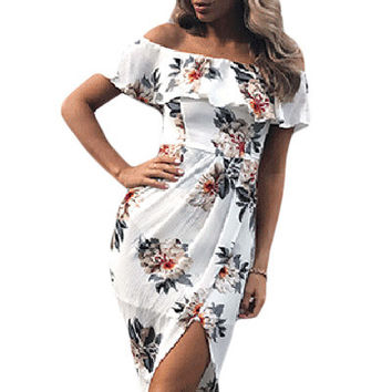 Stylish Floral Ruffle Off Shoulder Wrap Boho Dress LAVELIQ
