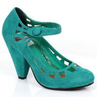 Retro Style Teal Microsuede Everly Pumps