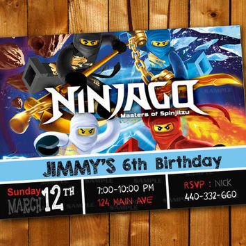 Ninjago n Friends Chalkboard Colorful, Birthday Invitation for little boy and little girl