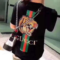 GUCCI Bust Mickey Mouse Print Back Embroidered Tiger Short Sleeve T-shirt top Black