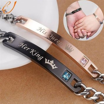 Cool 1pc Hot Sale Her King His Queen Couple Bracelets with Crytal Stone Lover Crown Charm Bracelets For Women Men Drop ShippingAT_93_12