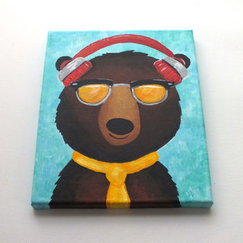 Hipster Black Bear, Whimsical Art, animal painting for childrens room