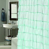 Royal Bath Flamenco Tiered Crushed Voile Fabric Shower Curtain - Spa Blue