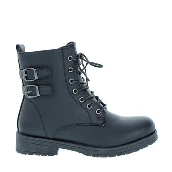 2 Buckle Lace Up Combat Boot (BLACK)