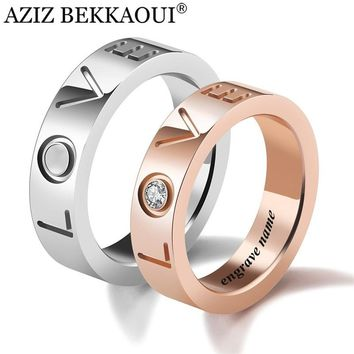Love Wedding Rings For Women / Men Fate Love Crystal Stainless Steel Engrave Name