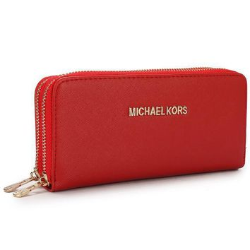 michael kors women mk purse simple fashion double zip long section high capacity wallet handbag