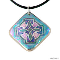 Carole's Celtic Cross pendant, hand-crafted fine porcelain, unique blue & green colors with hints of rose, includes black satin cord.