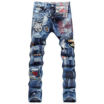 Personality Badge Patchwork Ripped Jeans