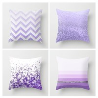 PURPLE PILLOW SET by Monika Strigel with CHEVRON STRIPES GLITTER SPARKLES SILVER