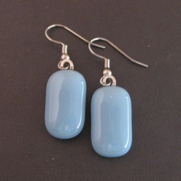 Fused Glass Dangle Earrings, Blue Drop Earrings - Baby Blues -  by mysassyglass