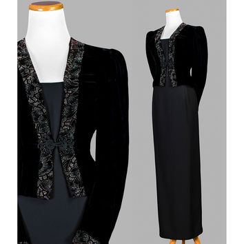 Vintage 80s Formal Jessica McClintock Black Velvet Jacket - 1980s Cocktail Party Puff Sleeve Jacket - Evening Wear Glitter Jacket - ON SALE