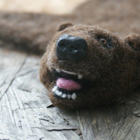 On the geeky side - needle felted bear skin