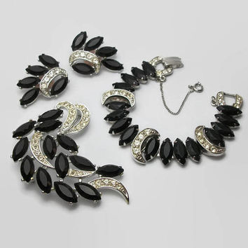 "1960s Sarah Coventry ""Vienna Nights"" Parure, Clip On Earrings Bracelet Brooch Set, Silver Tone, Black Marquise Navette, Clear Rhinestones"