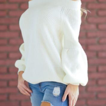 Ivory Balloon Sleeve Off The Shoulder Sweater